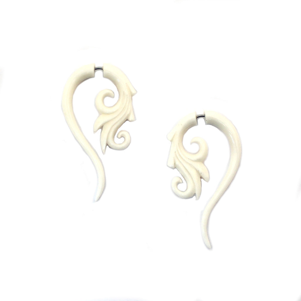 Carved Bone Earrings - Floral