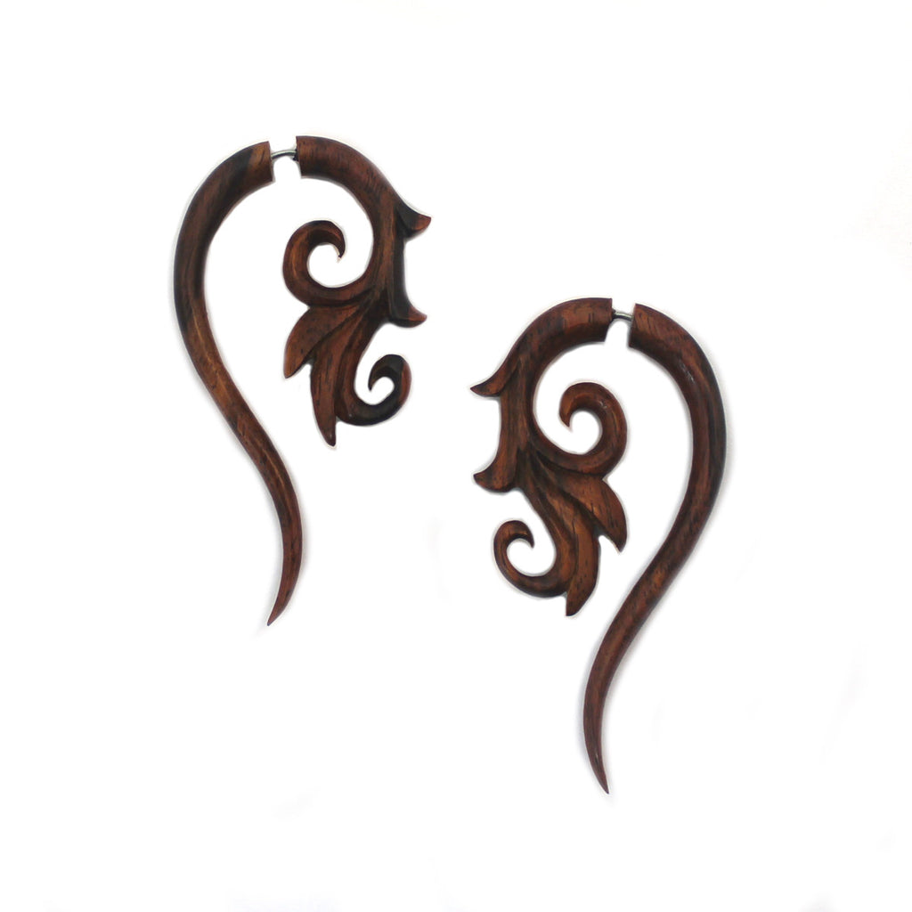 Carved Wood Earrings - Floral