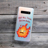 angry fire may all your bacon burn samsung galaxy phone case