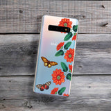 red flowers and butterflies samsung phone case
