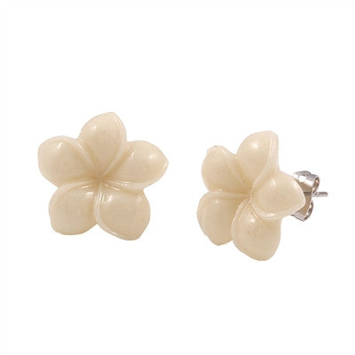 Plumeria Flower Stud Earrings (2 colors)
