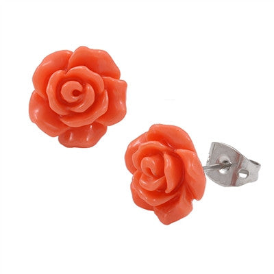 Mini Coral Rose Stud Earrings (5 colors)