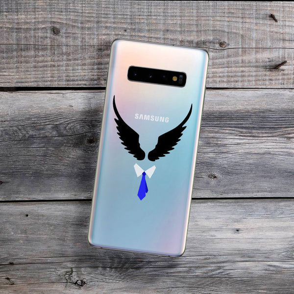 black angel wings and tie castiel samsung phone case