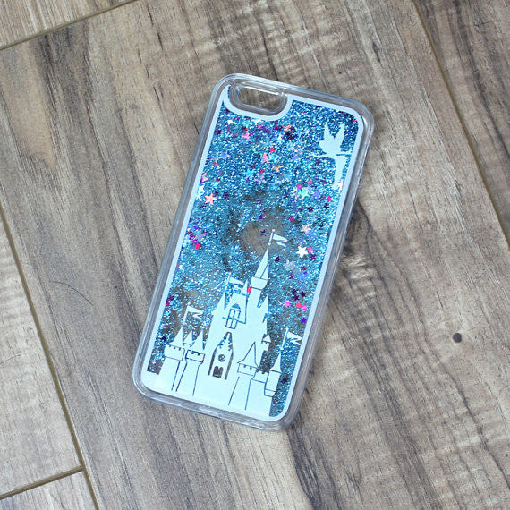 Magic Kingdom Blue Glitter iPhone Case