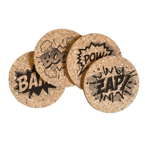 Comic Bubbles Cork Coaster Set of 4