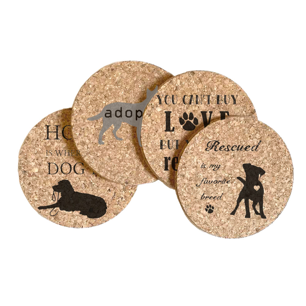 Dog Adoption Cork Coaster Set of 4