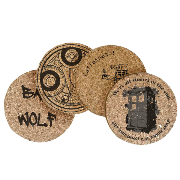 Dr Who Themed Cork Coaster Set of 4 (Set A)