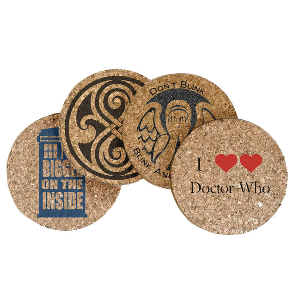 Dr Who Themed Cork Coaster Set of 4 (Set B)