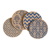 Blue Ikat Patterns Cork Coaster Set of 4