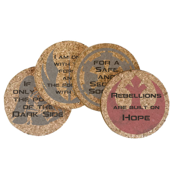 Galactic Drama Quotes Cork Coaster Set of 4