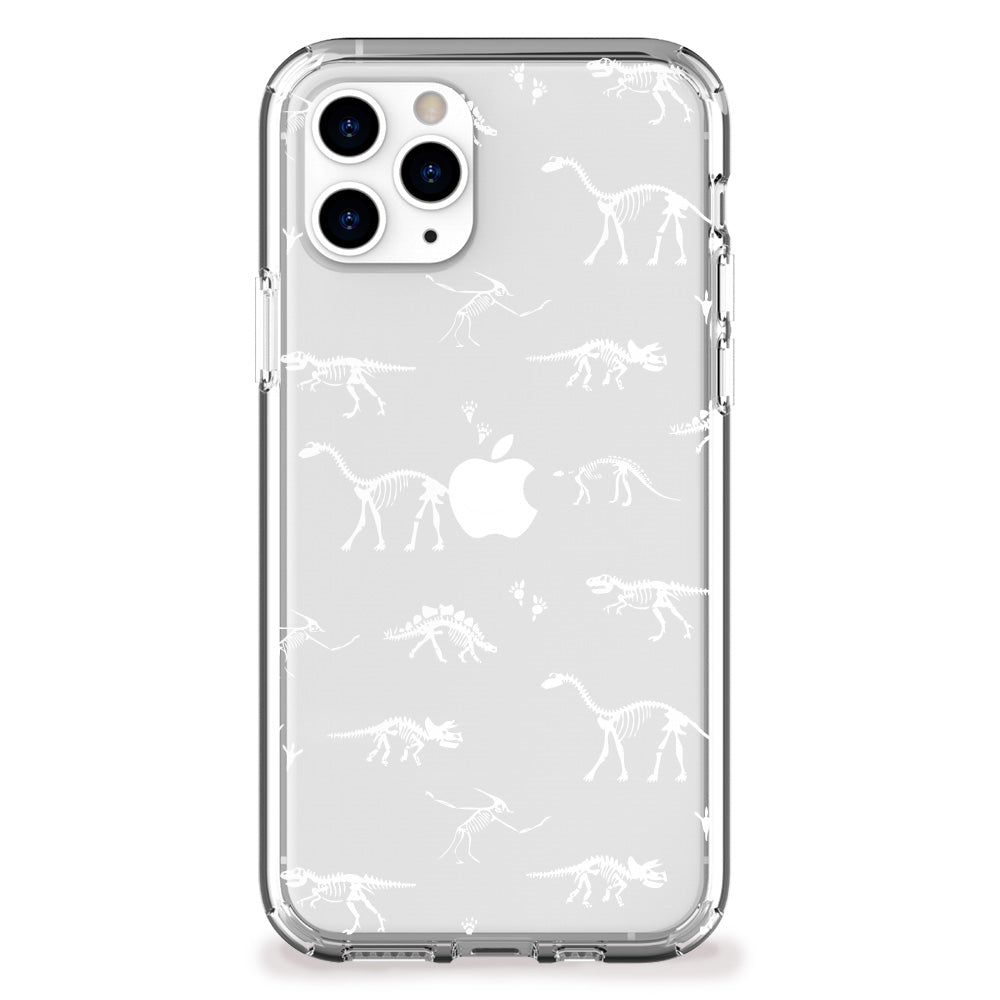 Dinosaur Fossil Pattern iPhone Case (white)