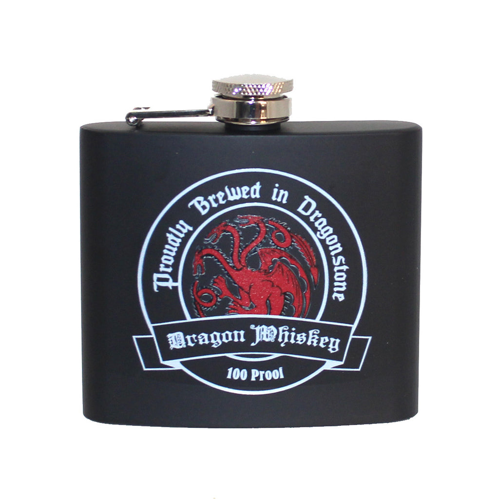 Steel 5oz Flask - Targaryen Dragon Whiskey (Black)