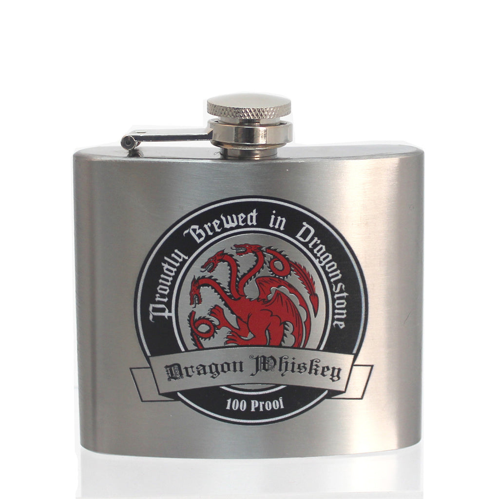 Steel 5oz Flask - Targaryen Dragon Whiskey (Silver)