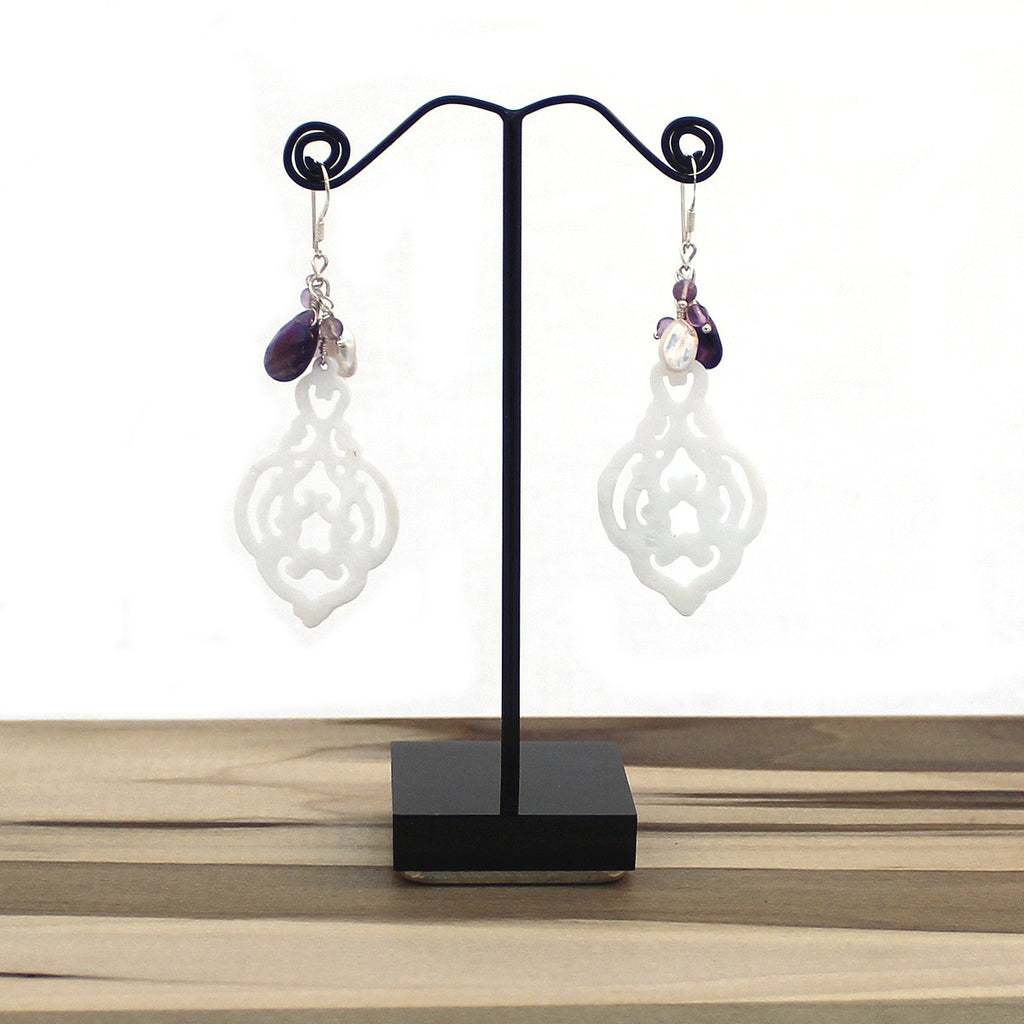 Filigree Shell Dangle Earrings