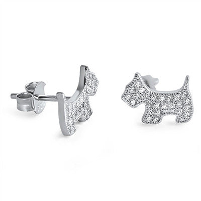 Sterling Silver Scottie Dog Earrings