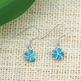 Silver Plumeria Flower Dangle Earrings with Blue Lab Opal