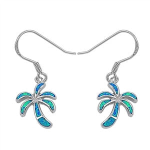 Silver Palm Tree Dangle Earrings with Blue Lab Opal