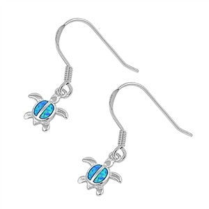 Silver Mini Honu Dangle Earrings with Blue Lab Opal