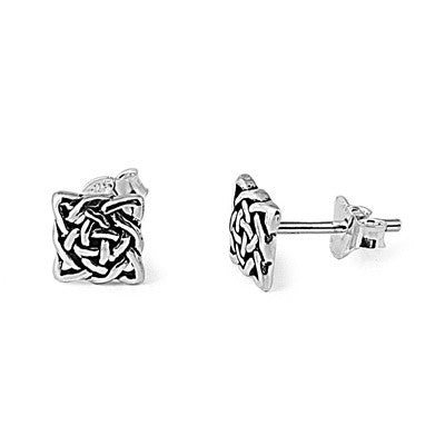 Silver Celtic Square Knot Stud Earrings