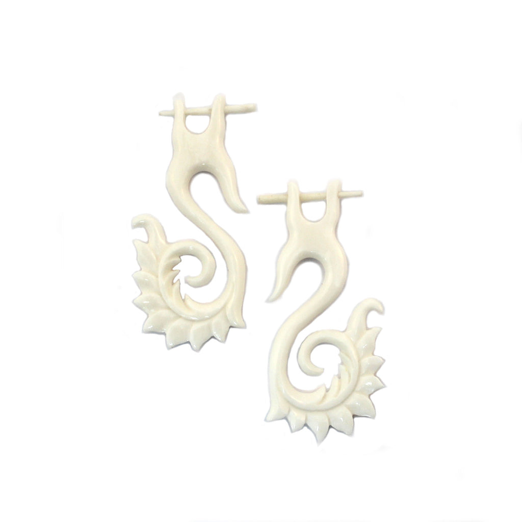 Carved Bone Earrings - Tribal