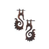 Carved Wood Stirrup Earrings - Tribal