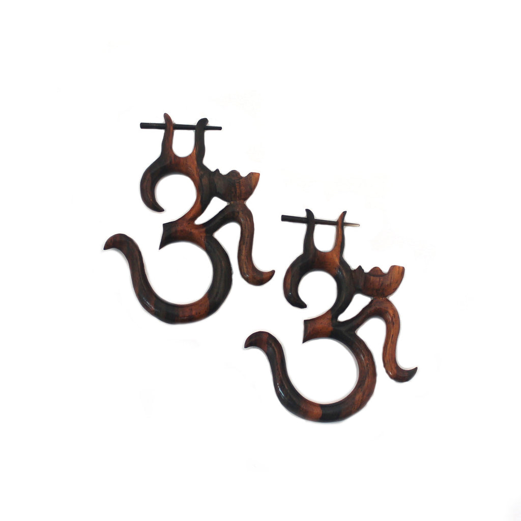 Carved Wood Earrings - Ohm Stirrups