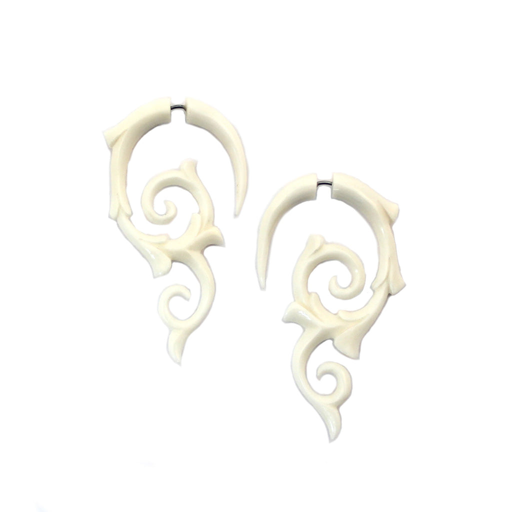 Carved Bone Earrings - Spiral Thorns