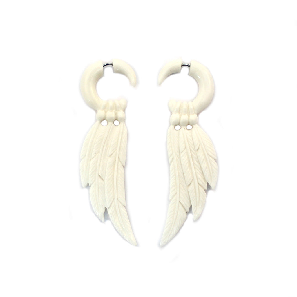Carved Bone Earrings - Feathers