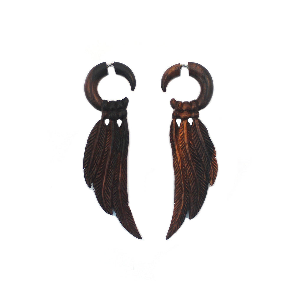 Carved Wood Earrings - Feathers