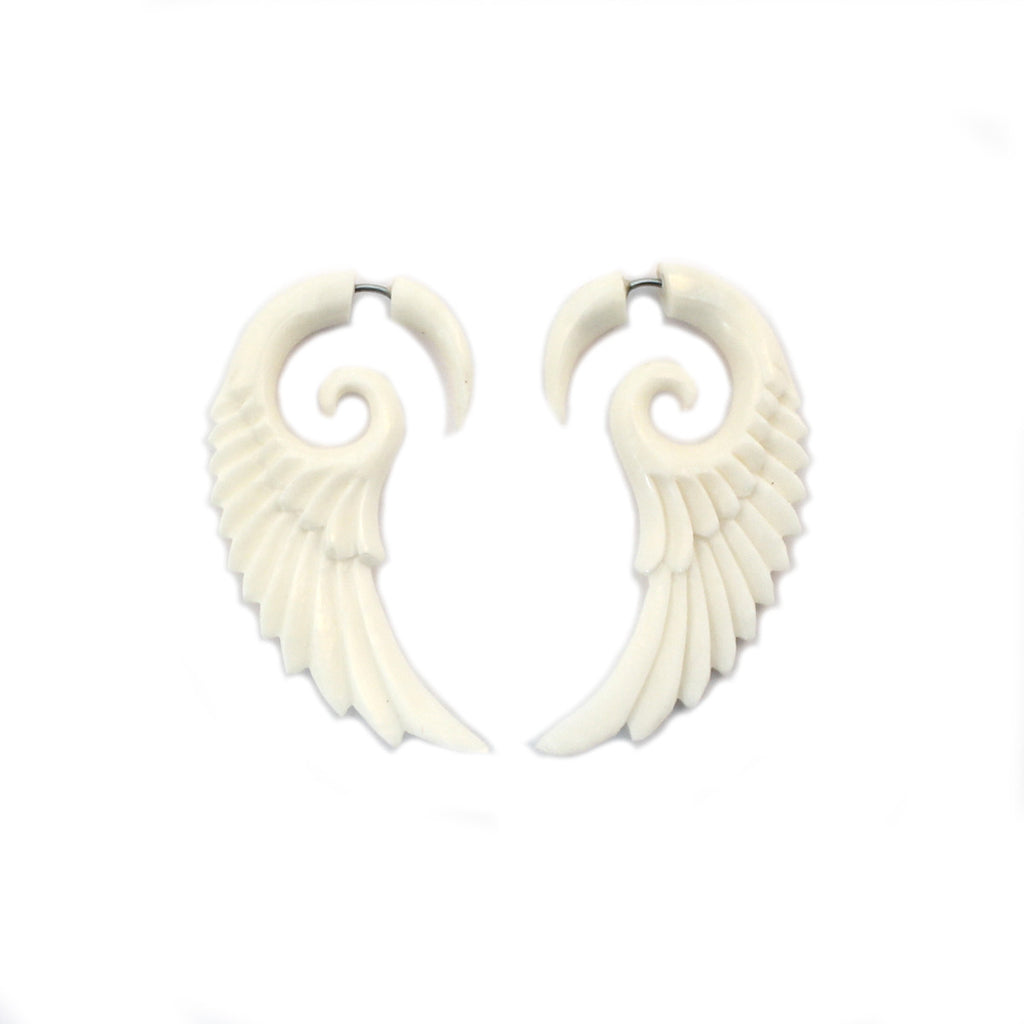 Carved Bone Earrings - Wings