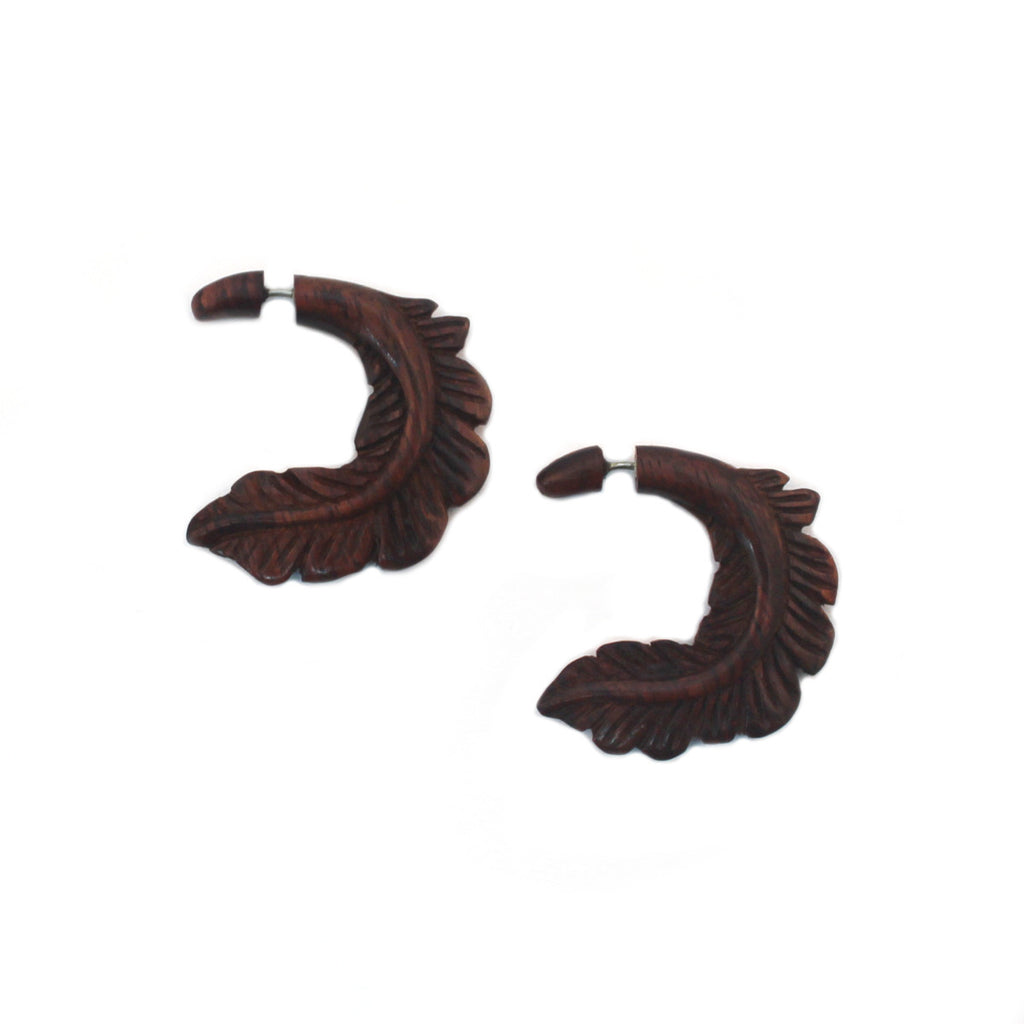 Carved Wood Earrings - Feather