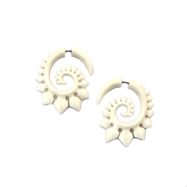 Carved Bone Earrings - Stegosaurus