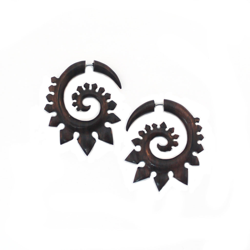 Carved Wood Earrings - Stegosaurus