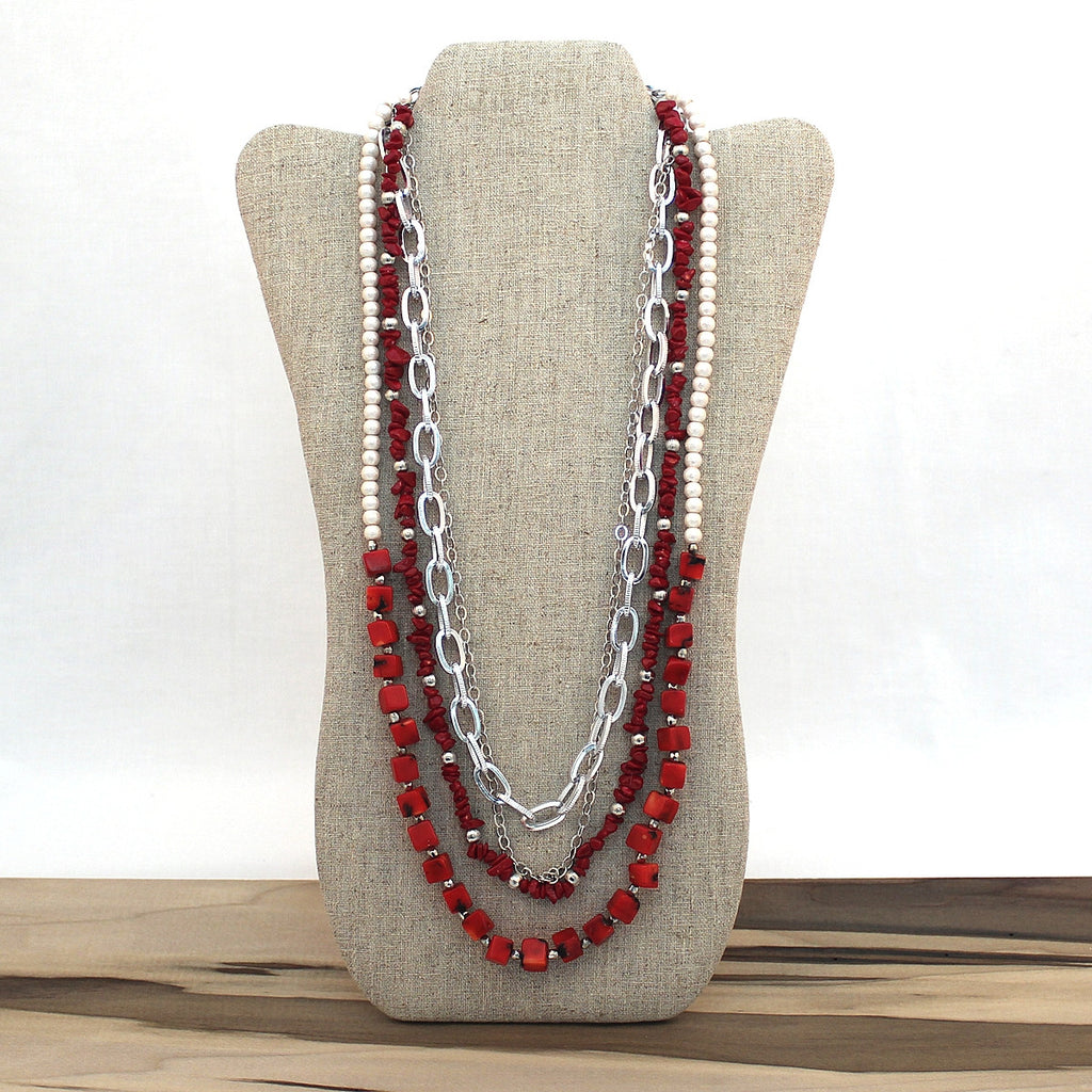 Layered necklace - Coral