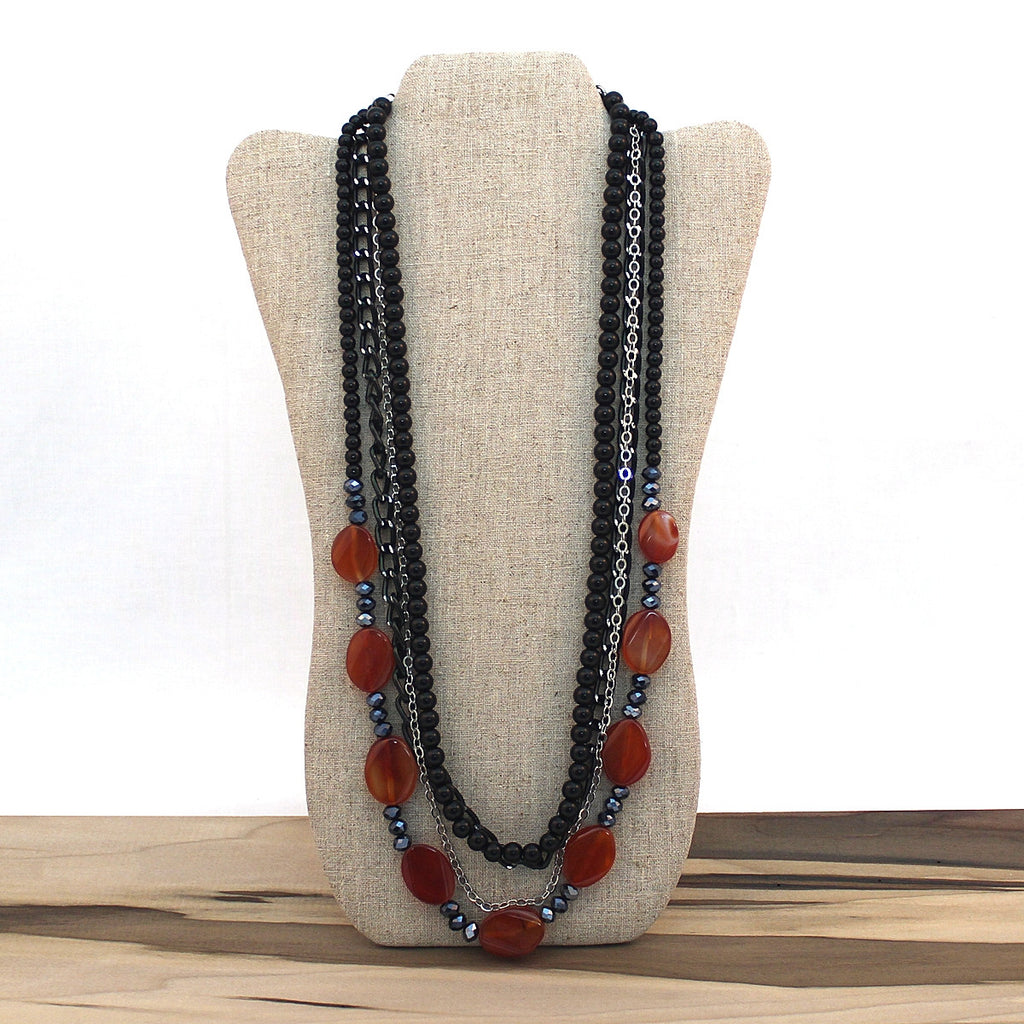 Layered necklace - Carnelian