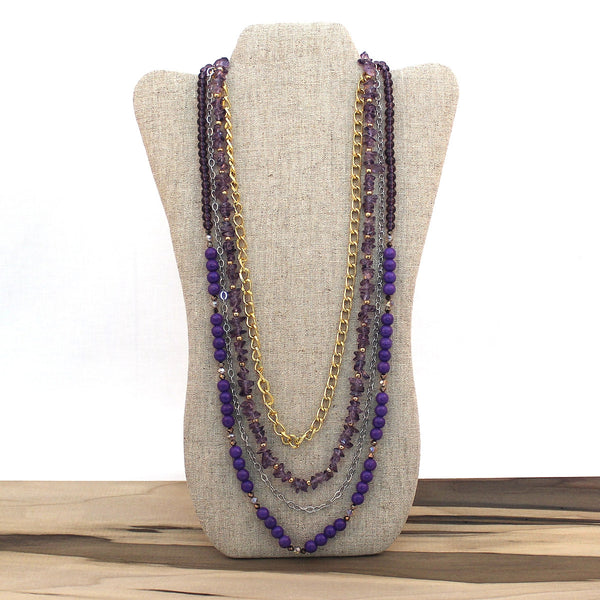 Layered necklace - Amethyst