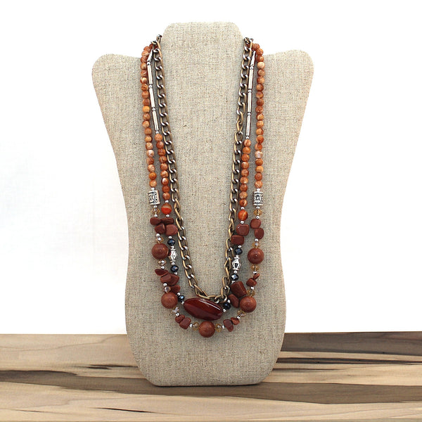 Layered necklace - Goldstone