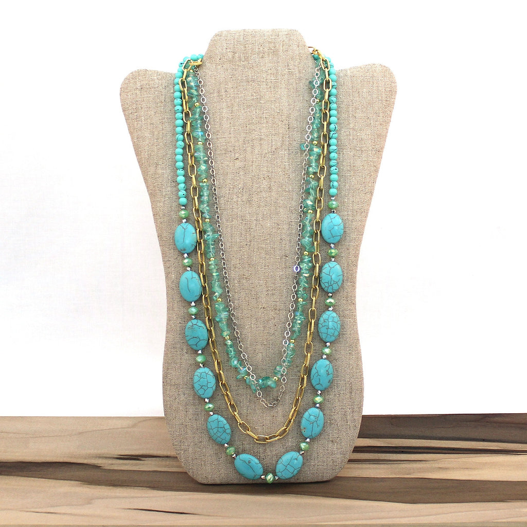 Layered necklace - Aqua