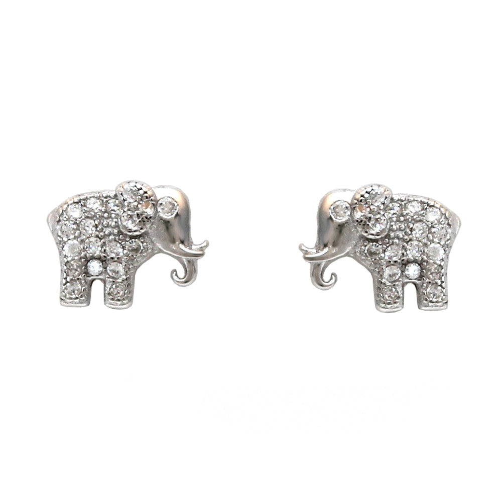 Sterling Silver Lucky Elephant Stud Earrings