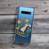 badger with folksy flowers samsung galaxy phone case
