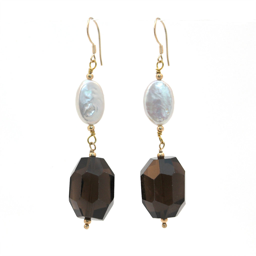 Smokey Quartz and Pearl Dangle Earrings