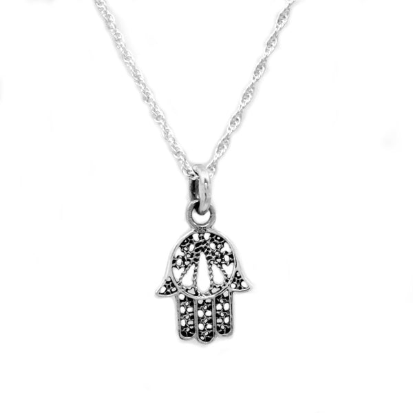 Sterling Silver Filigree Hamsa Necklace