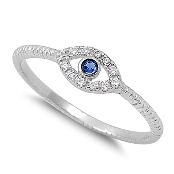 Sterling Silver Evil Eye Ring