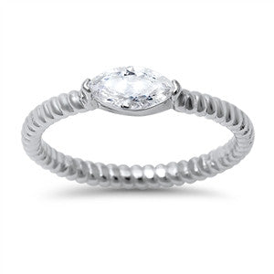 Sterling Silver Stacking Style Ring with Marquis CZ Accent