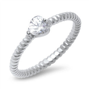 Sterling Silver Stacking Style Ring with Heart CZ Accent
