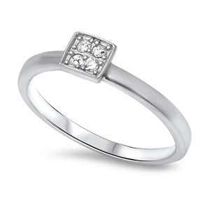 Sterling Silver Stacking Style Ring - Square Pave
