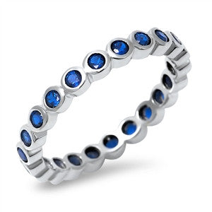 Sterling Silver Eternity Stacking Style Ring with Bezel Set Sapphire CZ
