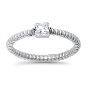 Sterling Silver Stacking Style Ring with Square CZ Accent