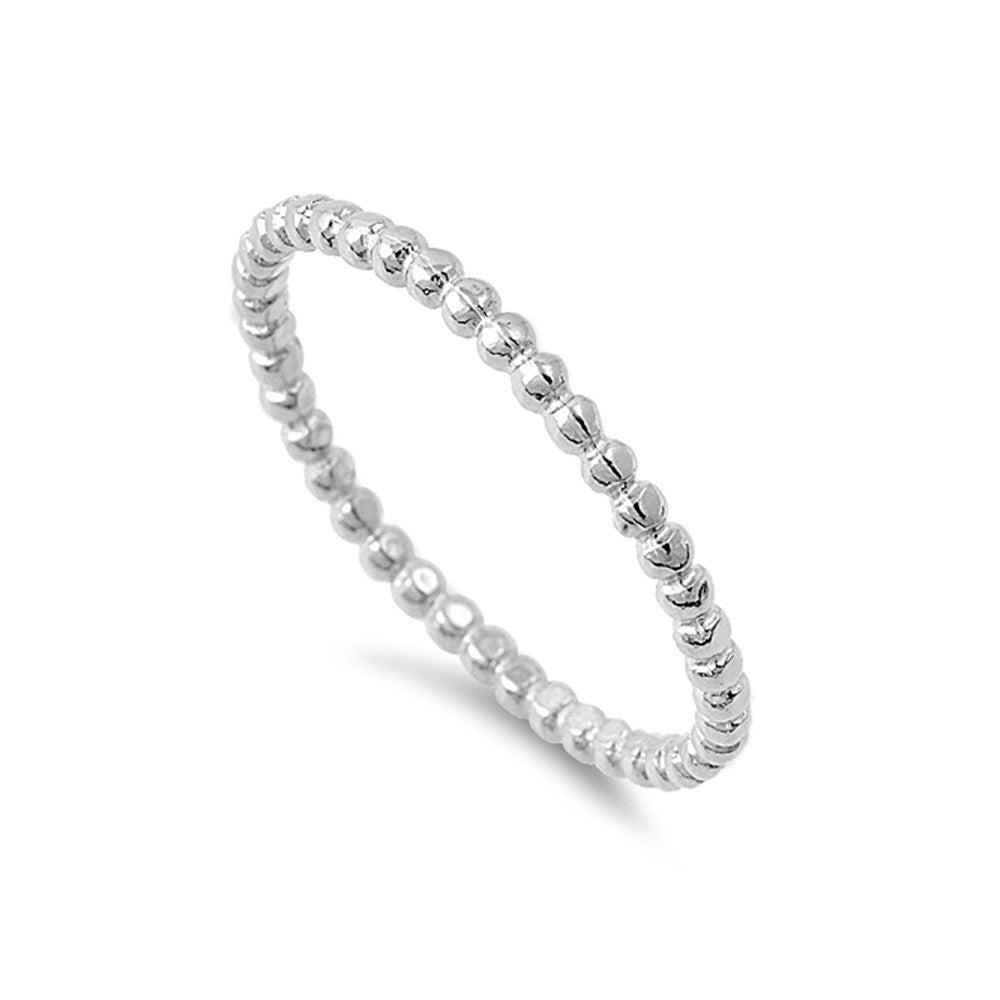 Sterling Silver Mini Dots Stacking Ring - White