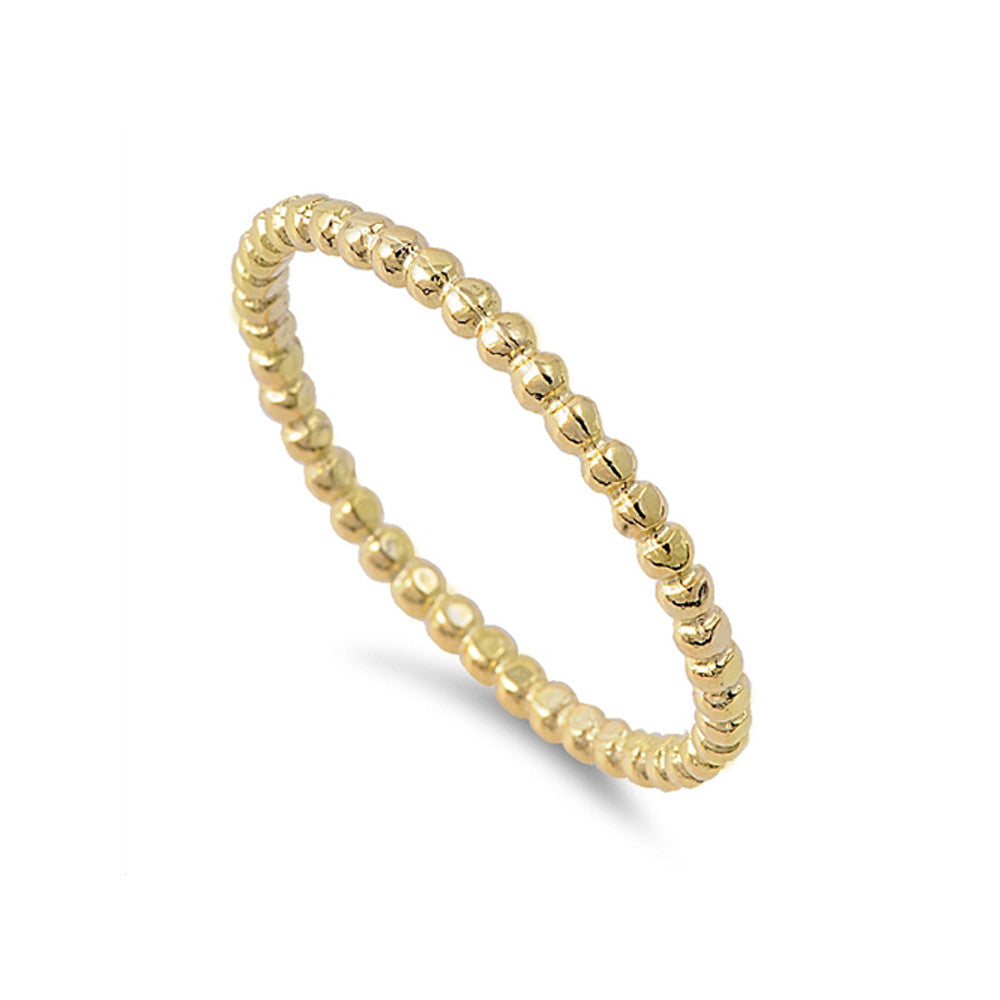 Sterling Silver Mini Dots Stacking Ring - Gold Tone